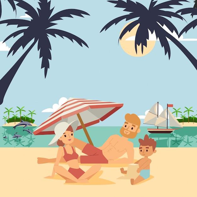 Famille Sur L'illustration Des Vacances D'été. Vecteur Premium