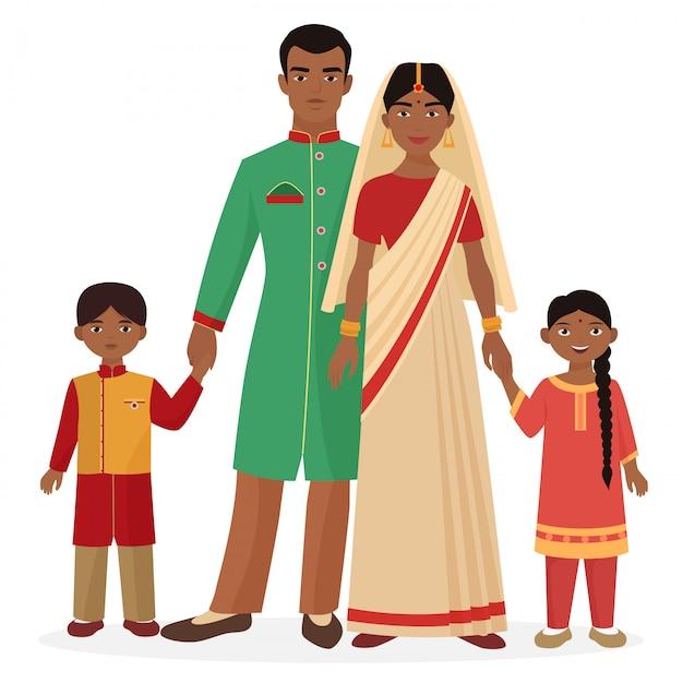 Famille indienne en costume national traditionnel Vecteur Premium
