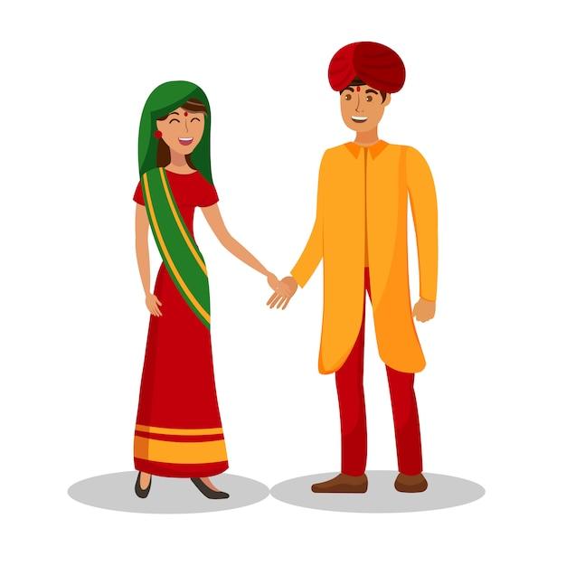 Famille indienne Vecteur Premium