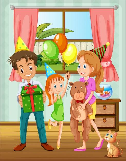 Une famille à l'intérieur de la maison près de la fenêtre Vecteur gratuit