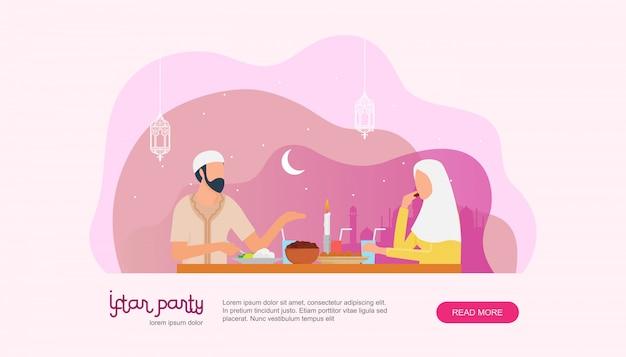 Famille islamique iftar en train de manger après le jeûne page de destination Vecteur Premium