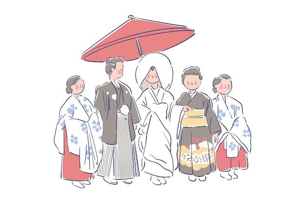 Famille Et Jeunes Mariés Portant Des Vêtements De Désherbage Japonais Vecteur gratuit