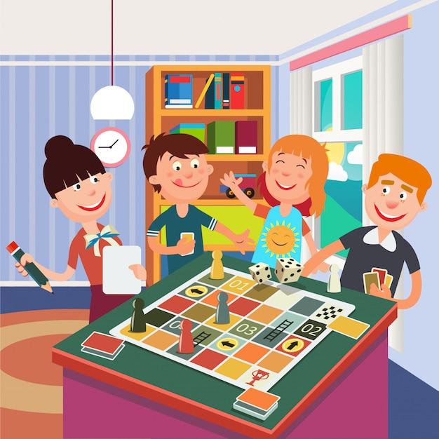 Famille jouant au jeu de société. bonne fin de semaine en famille. Vecteur Premium