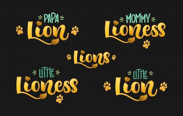 Famille Lions Ensemble Main Couleur Dessiner Texte De Lettrage Script Calligraphie Vecteur Premium