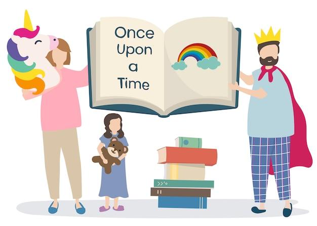 Famille Lisant Un Livre D'histoire Vecteur gratuit