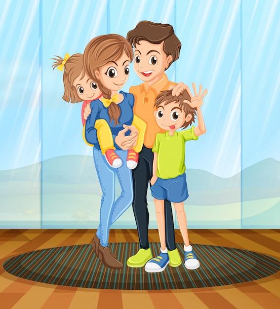 Famille à la maison Vecteur gratuit