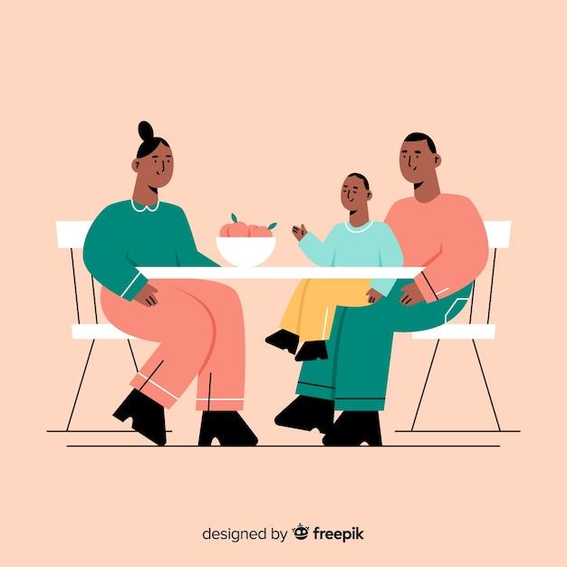 Famille manger Vecteur gratuit