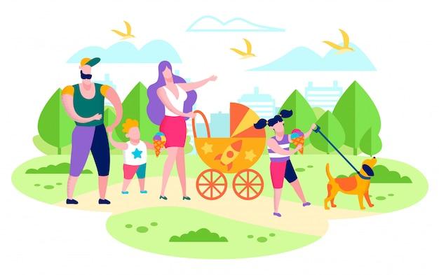 Famille marchant avec des enfants dans le parc de la ville plat vector Vecteur Premium
