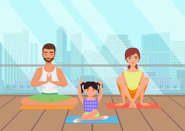Famille méditant en salle de fitness Vecteur Premium
