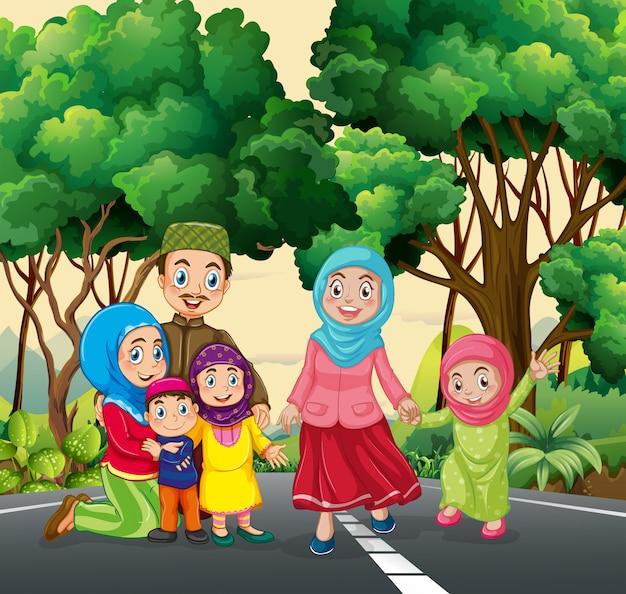 Famille musulmane au parc Vecteur gratuit