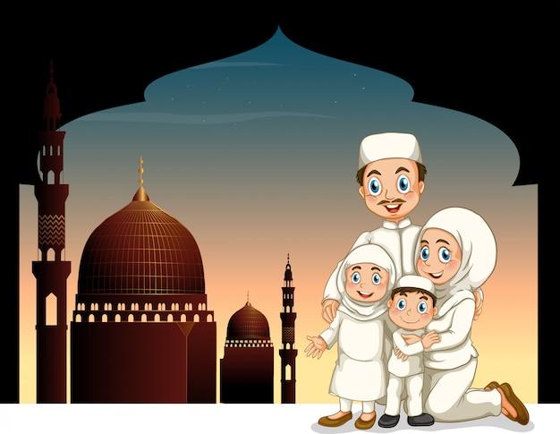 Famille musulmane avec fond de mosquée Vecteur gratuit