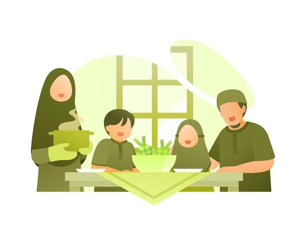 Une Famille Musulmane Mange Ensemble Pour Célébrer L'aïd Al Fitr Vecteur Premium