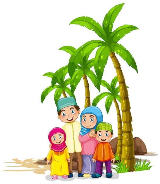 Famille musulmane sous l'arbre Vecteur gratuit