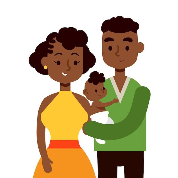 Famille Noire Avec Un Dessin Dessiné à La Main De Bébé Vecteur gratuit