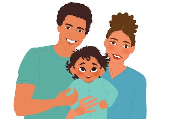 Famille Noire Dessinée à Plat Avec Une Illustration De Bébé Vecteur gratuit