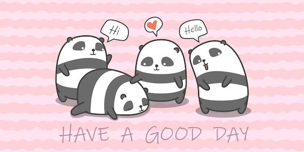 Famille panda en style cartoon. Vecteur Premium