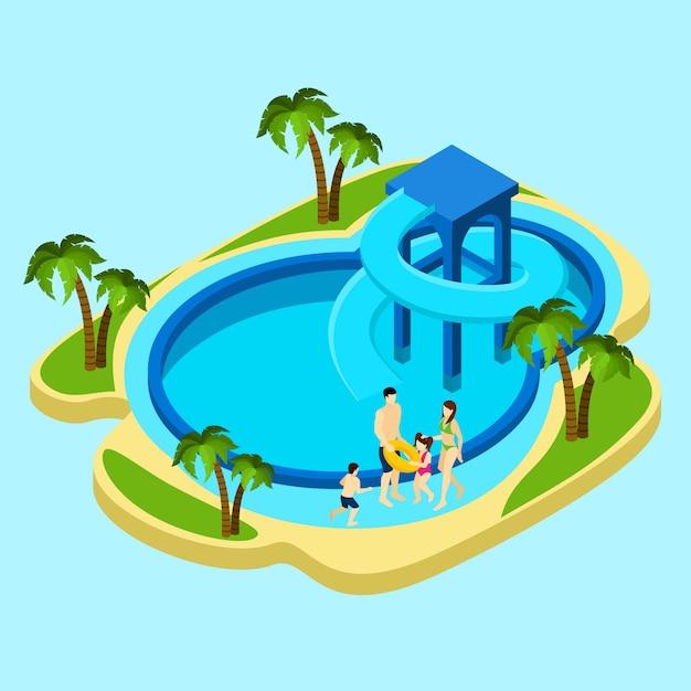 Famille, à, parc aquatique, illustration Vecteur gratuit