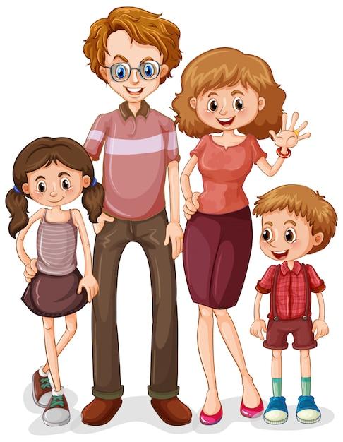 Famille Avec Parents Et Deux Enfants Sur Fond Blanc Vecteur gratuit