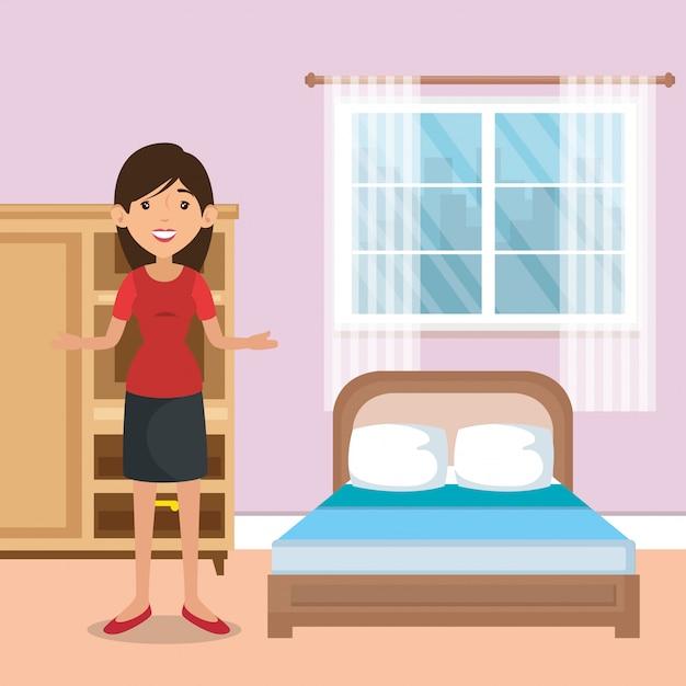 Famille, parents, scène, chambre à coucher Vecteur gratuit