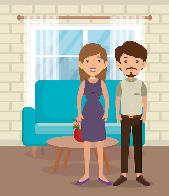 Famille, parents, scène salon Vecteur gratuit