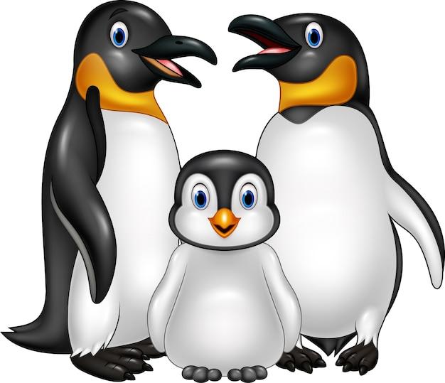 Famille de pingouin heureux cartoon isolé sur fond blanc Vecteur Premium
