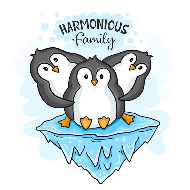 Famille de pingouins harmonieux Vecteur Premium