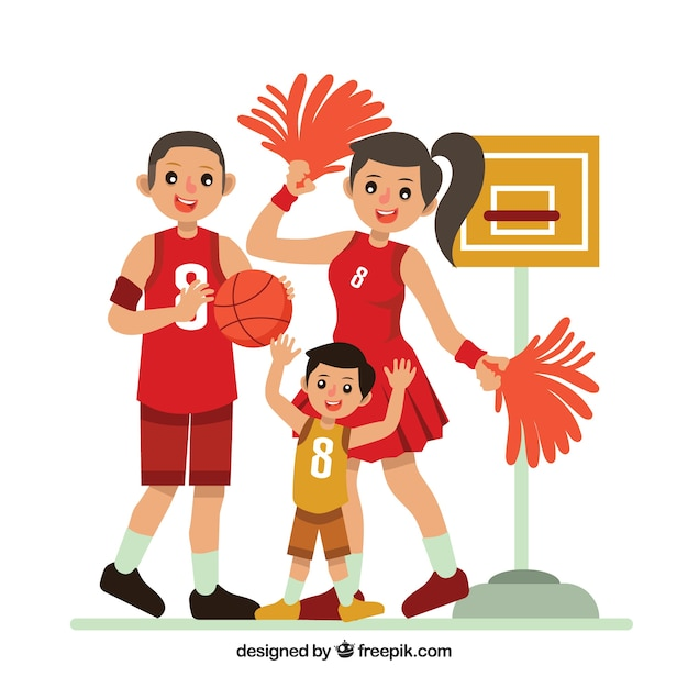 Famille plate jouant au basketball Vecteur gratuit