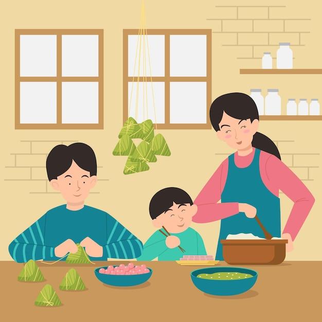 Famille Plate Préparant Et Mangeant Des Zongzi Vecteur gratuit