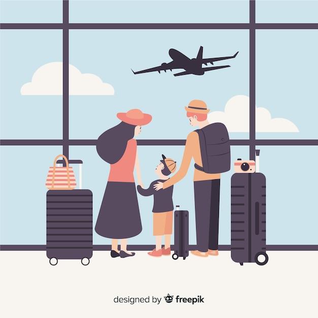 Famille plate voyageant Vecteur gratuit