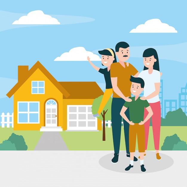 Famille en plein air Vecteur gratuit
