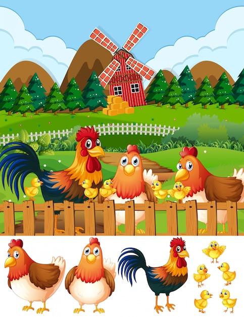 Famille de poulet sur les terres agricoles Vecteur gratuit