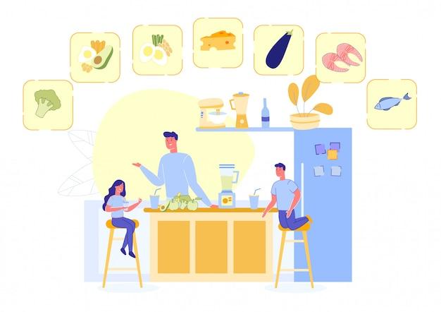 Famille préparant le repas avec des produits sains Vecteur Premium
