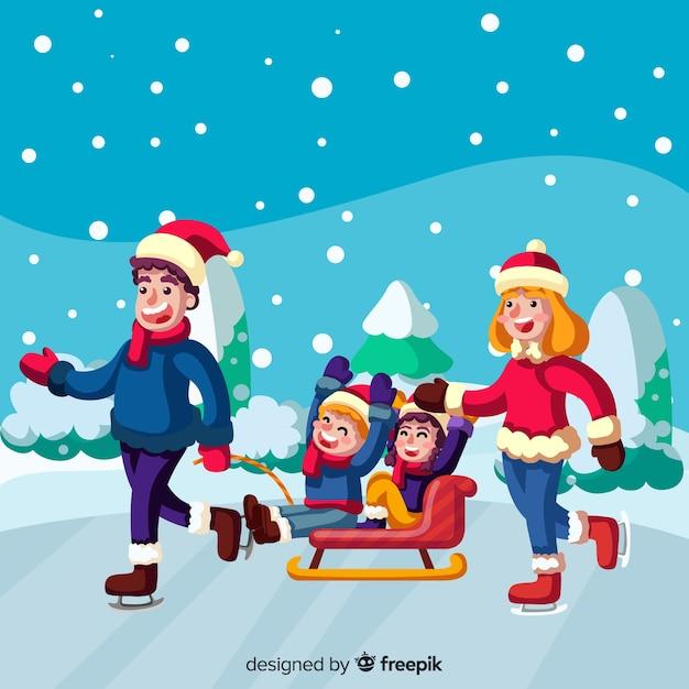 Famille profitant de l'hiver Vecteur gratuit