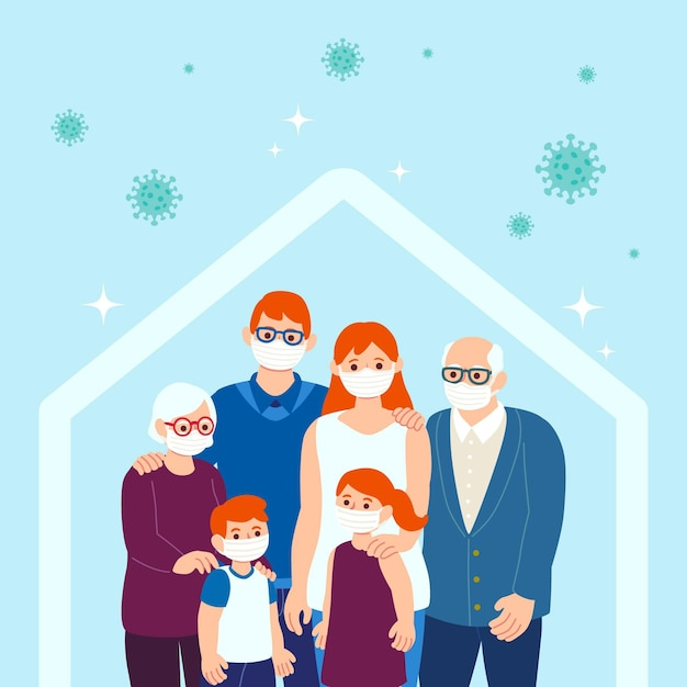 Famille Protégée Contre Le Virus Vecteur gratuit