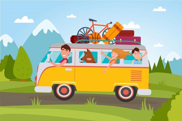 Famille qui part en vacances à la campagne dans une camionnette pleine de bagages et avec un petit ballon de basketball, une bicyclette compacte et un chien. Vecteur Premium