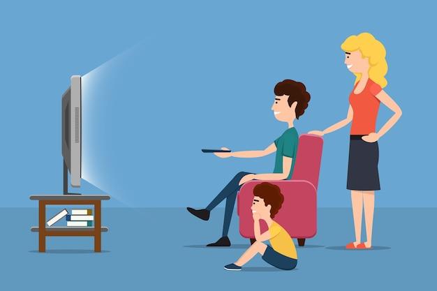 Famille Regardant La Télévision. Femme Homme Enfant Et écran. Illustration De Plat Vectorielle Vecteur gratuit