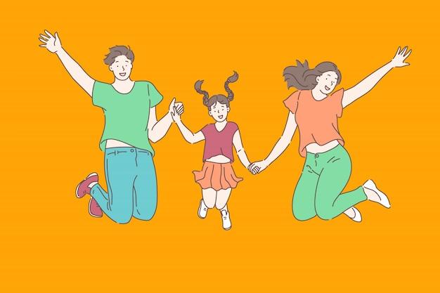 Famille, Relations, Concept De Loisir Vecteur Premium