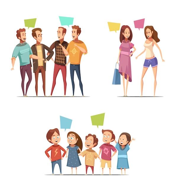 Famille rétro dessin animé sertie de drôles groupes de personnages masculins féminins et enfants parlant l'un à l'autre illustration vectorielle plane Vecteur gratuit