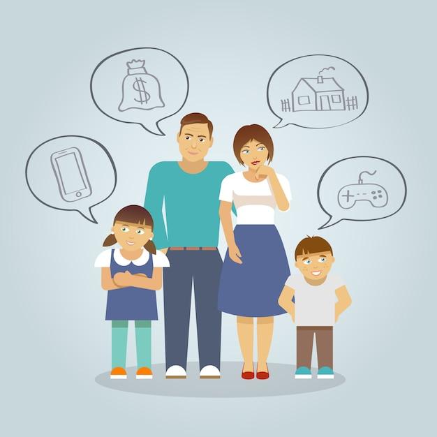 Famille rêvant d'appartement Vecteur gratuit