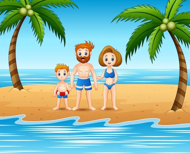 Famille S'amusant En Vacances D'été Vecteur Premium