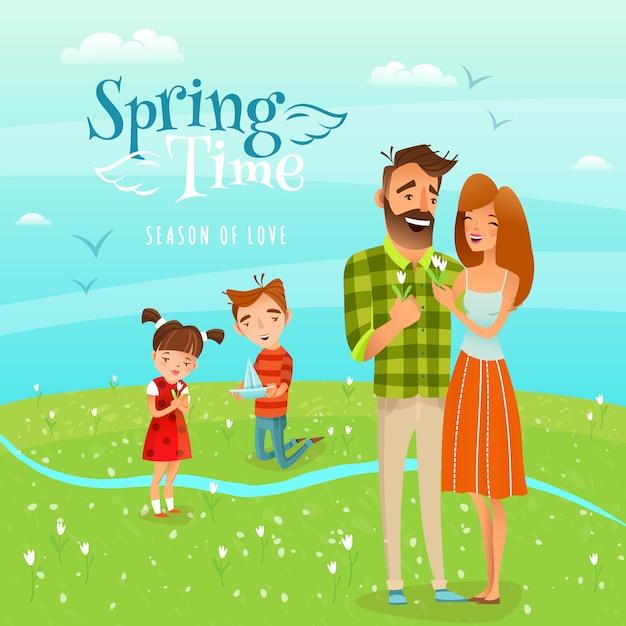 Famille et saison printemps illustration Vecteur gratuit
