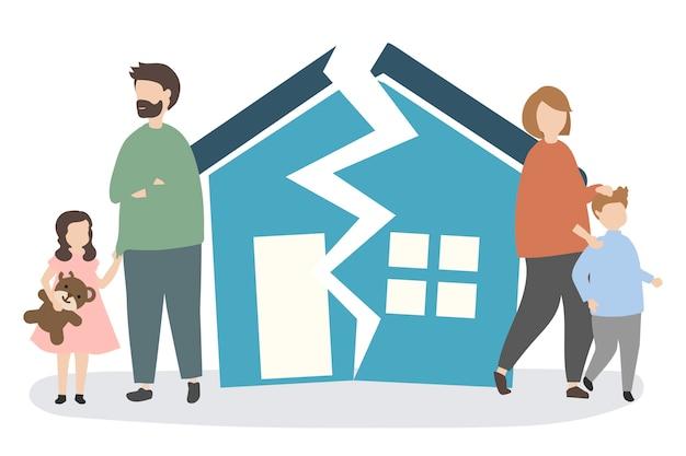 Famille se séparant et divorçant Vecteur gratuit