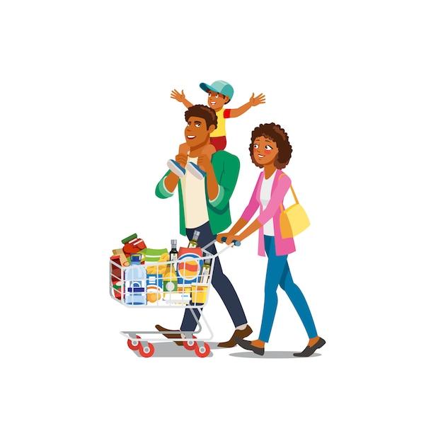 Famille Shopping Dans Le Vecteur De Dessin Animé D'épicerie Vecteur Premium