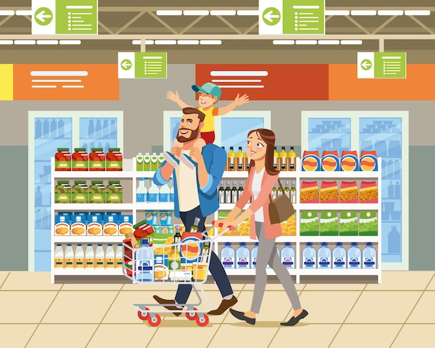 Famille Shopping Dans Le Vecteur De Dessin Animé De Supermarché Vecteur Premium