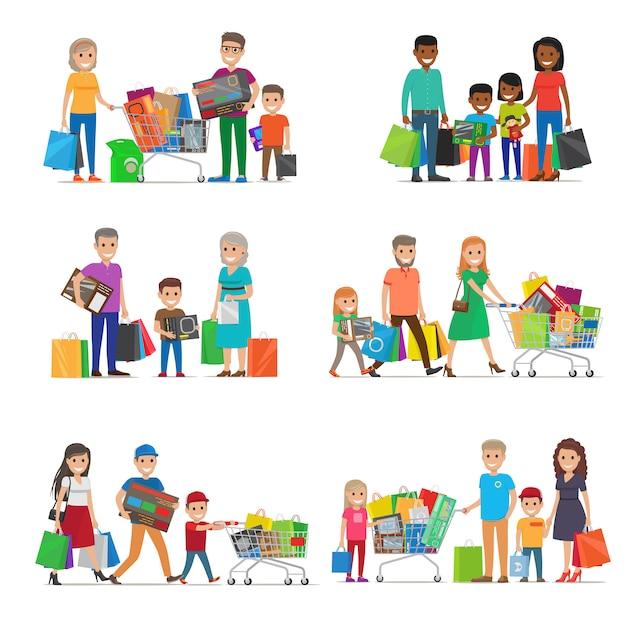 Famille sur shopping set. enfants et parents Vecteur Premium