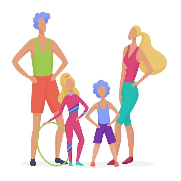 Famille De Sport Isolée. Papa, Mère, Fils Et Fille Prêt à Faire L'illustration De Style Minimaliste Abstrait De Remise En Forme Vecteur Premium
