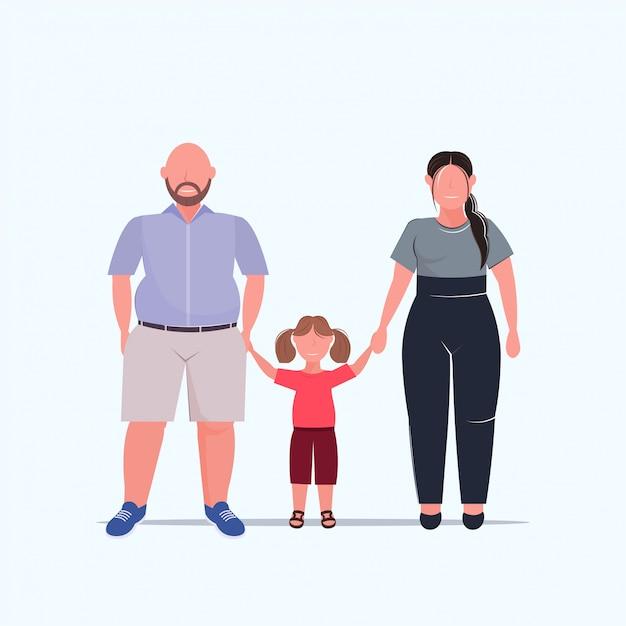 Famille En Surpoids, Main Dans La Main, Mère, Père, Fille, Debout, Ensemble, Sur, Taille, Mâle Femelle Vecteur Premium