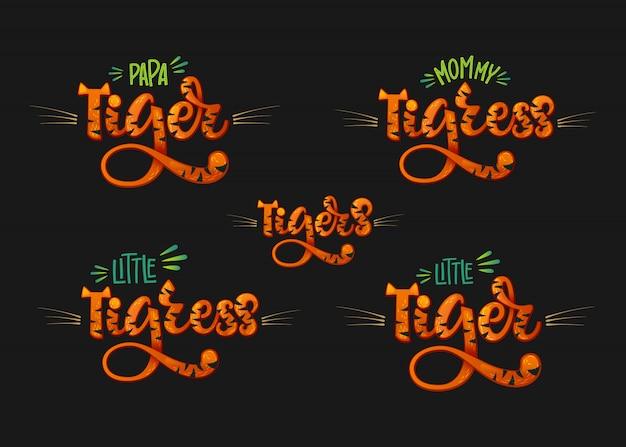Famille De Tigres Ensemble Main Couleur Dessiner Texte De Lettrage Script Calligraphie Vecteur Premium