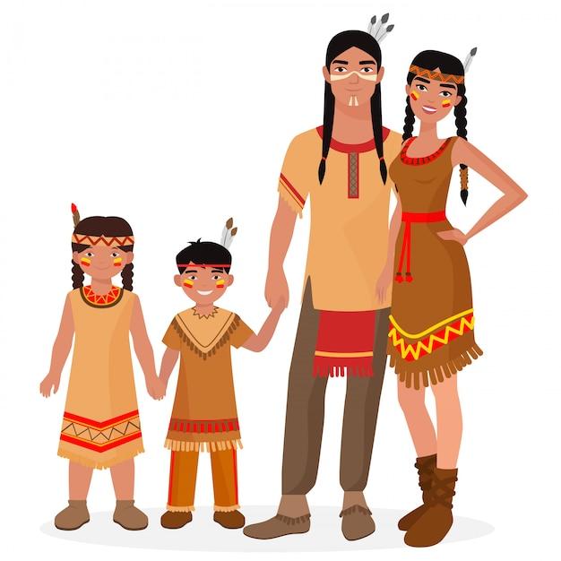 Famille traditionnelle amérindienne Vecteur Premium