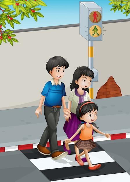 Une famille traversant la rue Vecteur gratuit
